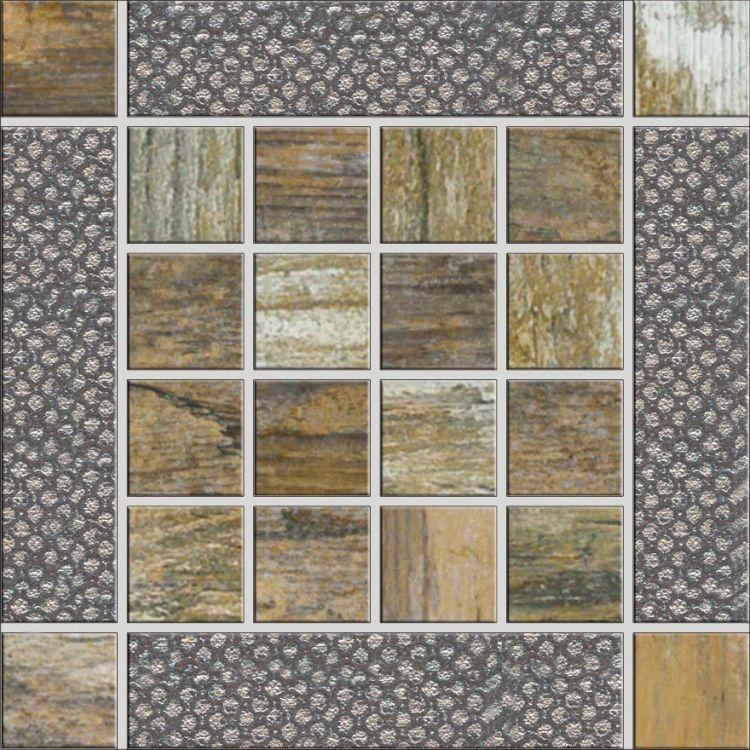 Ceramica Rondine Dlažba Metalwood Mozaika Beige Inserto 15 x 15
