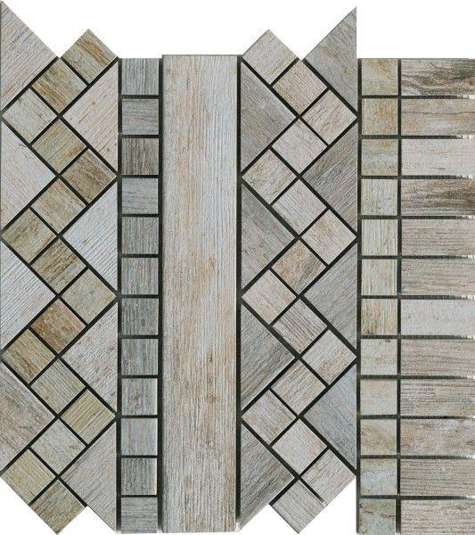 Ceramica Rondine Dlažba Metalwood Mozaika Grey Fascia 30,5 x 30,5